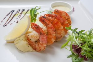 Grilled Garlic Shrimp with Garlic Mashed Potatoes