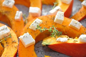 Honey-Roasted Squash with Crumbled Feta and Walnuts