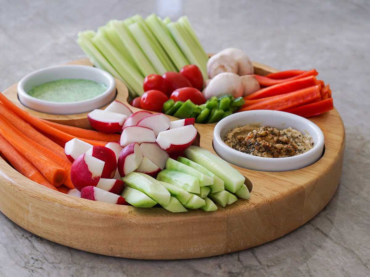 Snacks, crudites, cut up raw vegetables