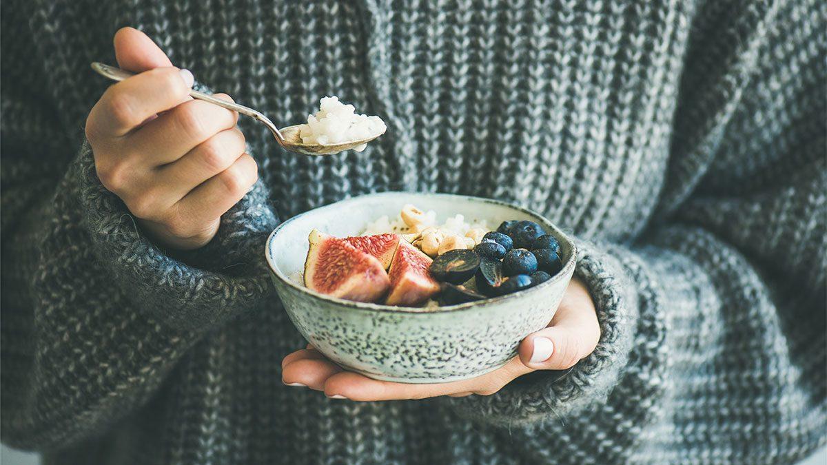 Breakfast Foods, woman eating breakfast