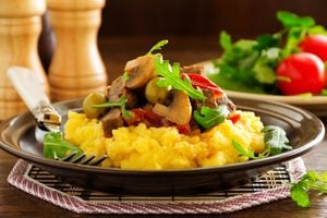 Polenta and vegetable salad