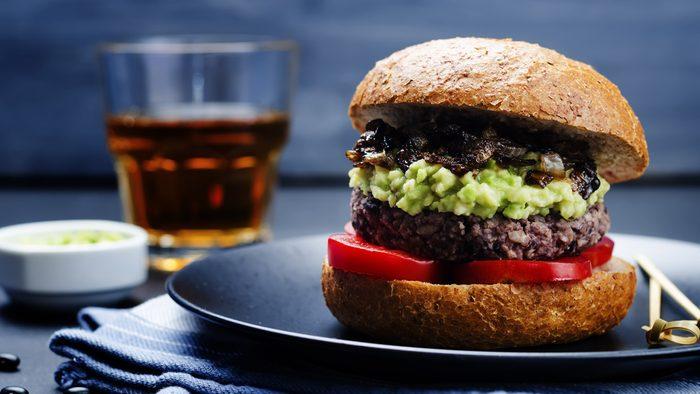 burger with avocado salsa