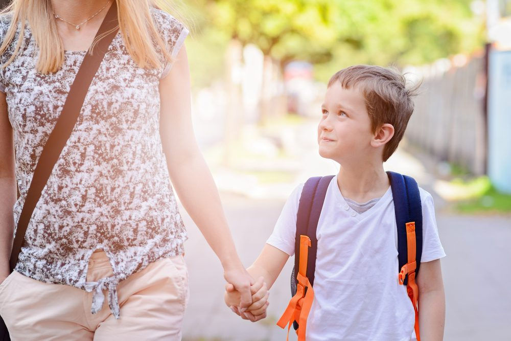 mom and son walking_ save money this back to school season