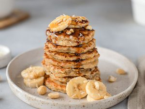 Oatmeal Pancakes with Cranberry-Maple Syrup