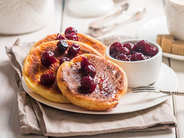 lemon ricotta pancakes with cherry sauce | pancake recipes