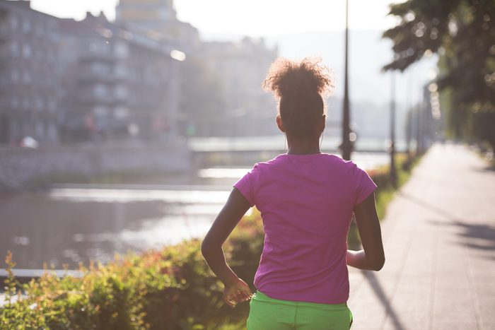 woman running in the summer