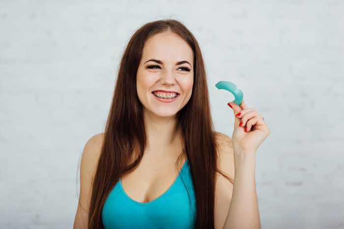 woman with her mouth guard