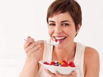 woman eating snacks