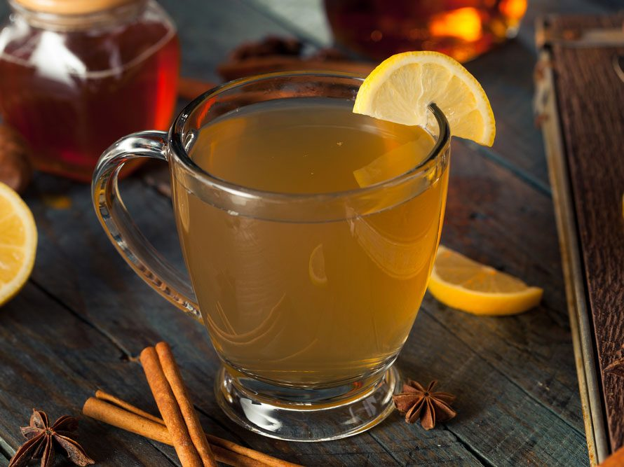 citrus and brandy hot toddy drink