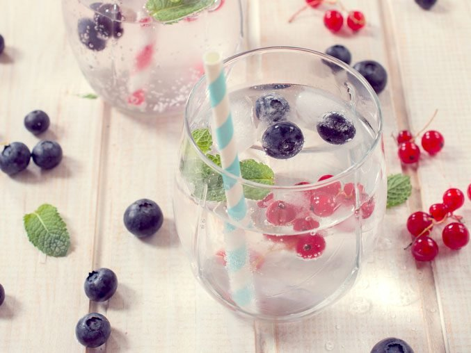 vodka lime soda with berries
