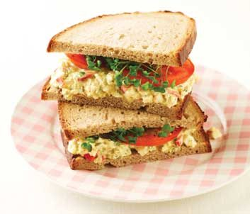 Curried Egg Salad Sandwich with Broccoli Sprouts