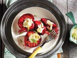 Grilled Plums with Maple-Vanilla Mascarpone