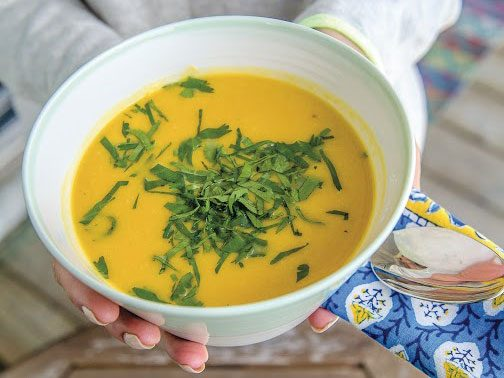 Creamy Roasted Butternut Squash Soup with Ginger and Cilantro