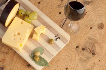 Swiss cheese and wine