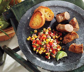 Turkey Sausage with Grilled-Corn Salsa