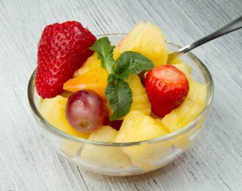 pineapple strawberries fruit mint