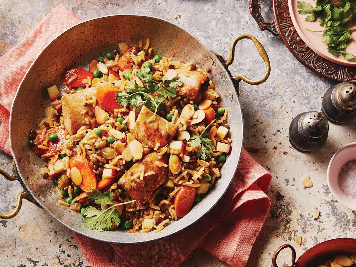 Biryani-Style Chicken with Apples and Raisins