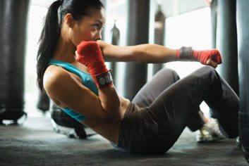 Pilates boxing crunches fitness woman