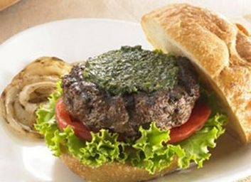 grilled burgers with pesto