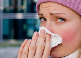 sick woman cold flu