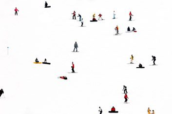 skiers on hill