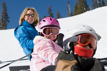 family on ski hill