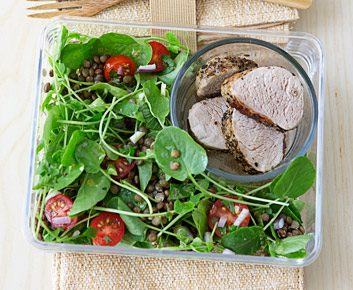 Lentil and Watercress Salad with Grilled Pork