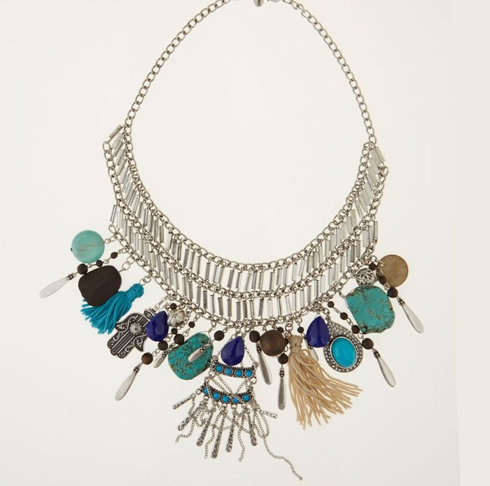 Silver-coloured metal and stone charm necklace