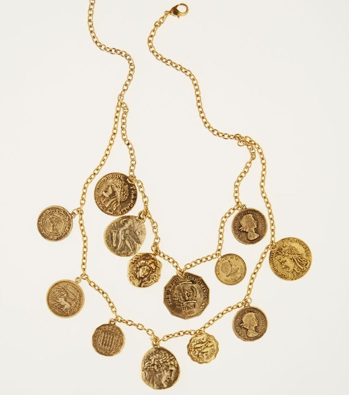 Gold-coloured metal coin necklace