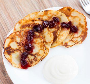 Lemon-Ricotta Pancakes with Cherry Sauce
