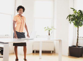 sitting less woman office work desk job