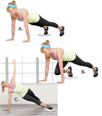 Slide-Through Plank: 2 minutes