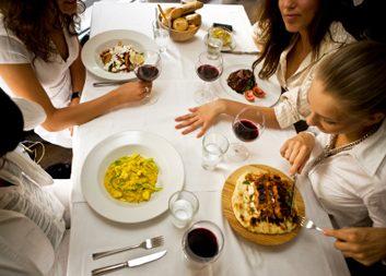 women eating restaurant