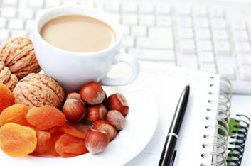 coffee, nuts and fruit at work