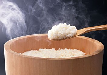 steaming rice
