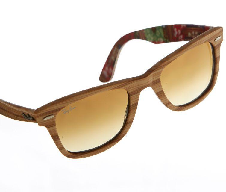 Woodgrain-and floral-printed acetate sunglasses