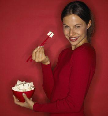 tofu woman eating