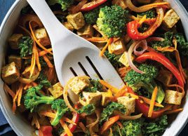 Stir-Fried Tofu and Vegetables in Curried Almond Butter Sauce