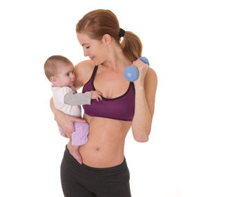 mom with baby and weights