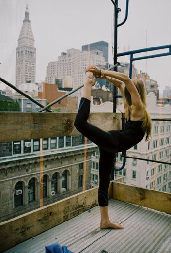 Yoga on top of a building