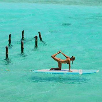 Yoga on a surfboard