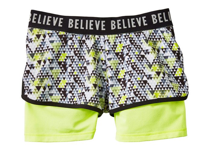 Neon Patterned Believe Running Shorts, $25