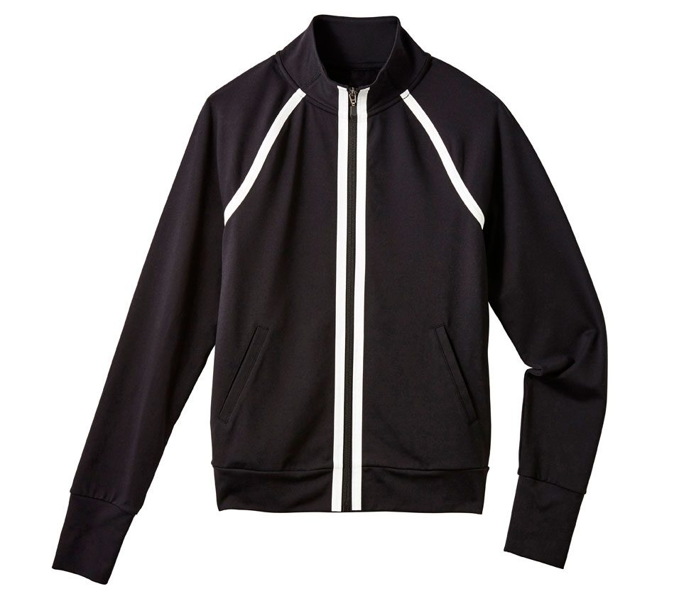 Black Zip-Up with White Trim, $40