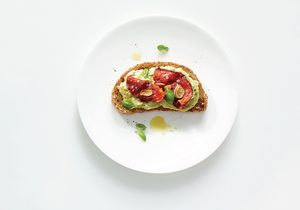 High-Protein Avocado Smash Toast with Roasted Tomatoes