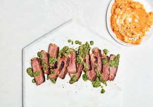 Strip Loin Steak with Cilantro-Sunflower Sauce