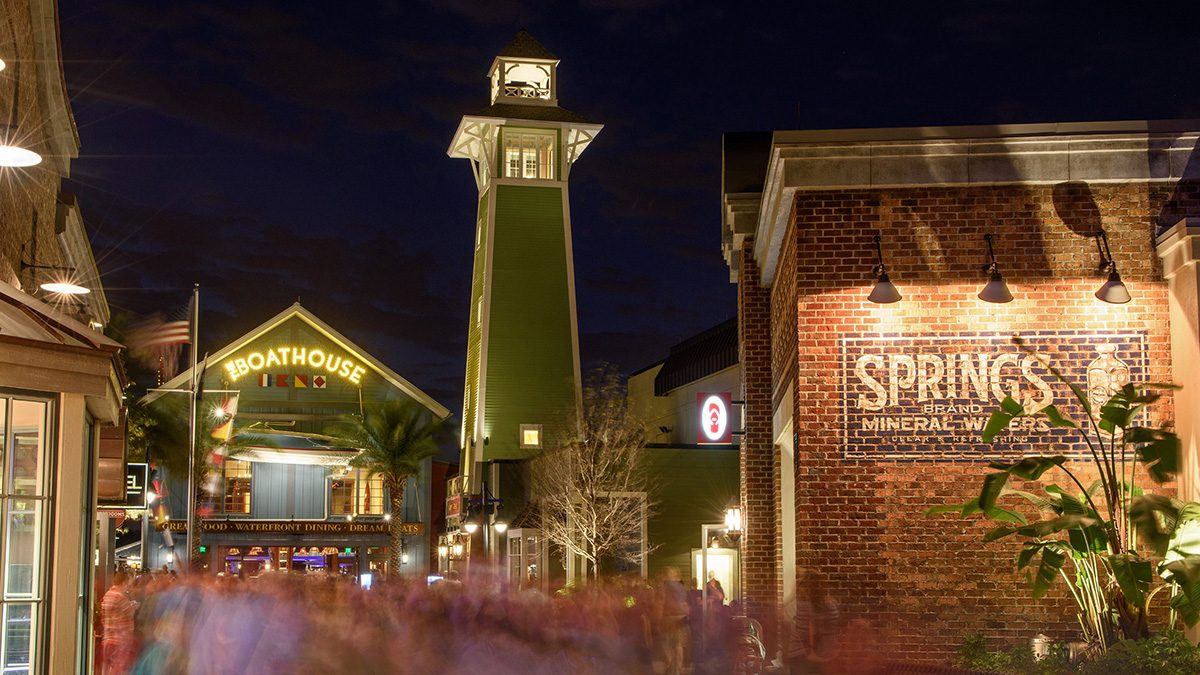 Night photo of disney springs