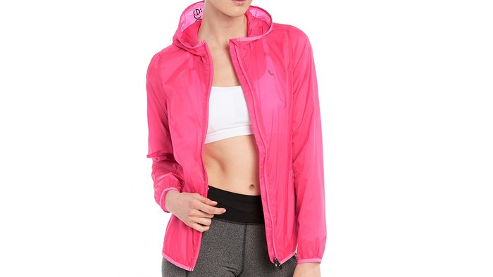 pink running jacket