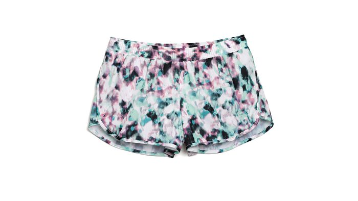 running shorts with watercolour pattern