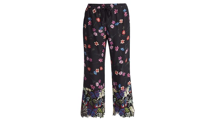 fashion black pants with embroidery down the legs and cuff