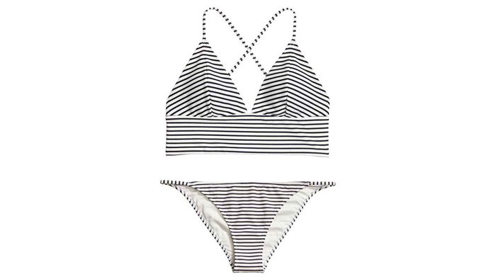 Striped triangle binkini with thick band